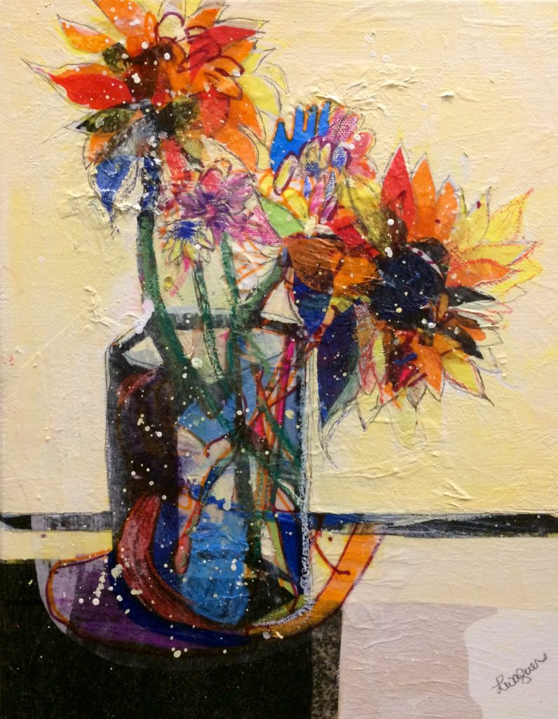 """Happy Flowers"" | $400+tax | Original Acrylic & Collage"